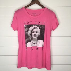 "🌵Marilyn Monroe ""Not Your Babe"" Pink Tee Shirt XL"